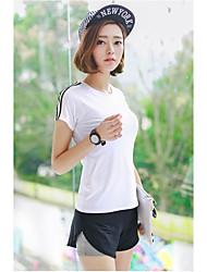 Women's Short Sleeve Running Jersey + Bib Shorts Breathable Summer Sports Wear Cotton Nylon Slim