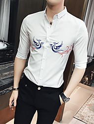 Men's Other Casual Simple Spring Summer Shirt,Solid Embroidery Button Down Collar ¾ Sleeve Cotton Medium