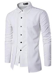 Для мужчин На каждый день Весна Лето Рубашка Квадратный вырез,Простое Однотонный Контрастных цветов Длинный рукав,Хлопок,Плотная