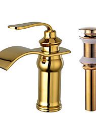Set de centre Jet pluie 1 trou for  Doré , Robinet lavabo