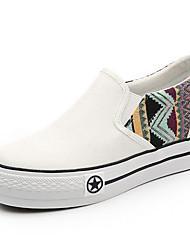 Damen Loafers & Slip-Ons Leinwand Frühling Weiß Schwarz Marinenblau Flach