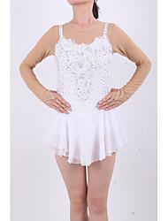 Robe de Patinage Femme Fille Manches Longues Patinage Jupes & Robes Robes Haute élasticité Robe de patinage artistique Strass Elasthanne