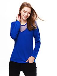 T-shirt Da donna Per uscire / Casual Sensuale / Semplice Primavera / Autunno,Collage Rotonda Poliestere Blu / Nero Manica lungaMedio