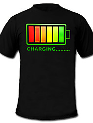 Light Up LED T-shirt colour battery charging pattern Fixed Mode Flashing EL Nylon for Party Bar Raver 2 AAA Batteries