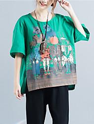 Tee-shirt Femme,Imprimé Quotidien simple Manches Courtes Col Arrondi Coton