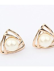 Women's Stud Earrings Imitation Pearl Unique Design Logo Style Geometric Fashion Personalized Simple Style Imitation Pearl AlloyGeometric