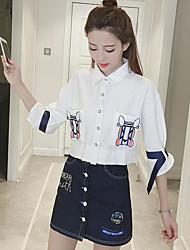 Для женщин На каждый день Лето Рубашка Юбки Костюмы Рубашечный воротник,просто Однотонный 1/2 Length Sleeve Слабоэластичная
