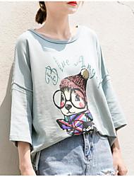 Damen Druck Niedlich Ausgehen T-shirt,Rundhalsausschnitt Sommer Kurzarm Baumwolle