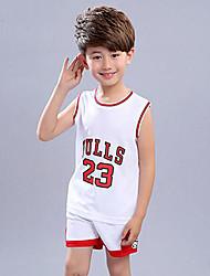 Boys' Print Patchwork Sets,Polyester Summer Sleeveless Clothing Set