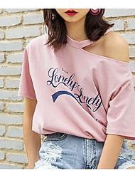 Tee-shirt Femme,Citations & Dictons Quotidien simple Eté Manches Courtes Epaules Dénudées Coton