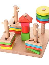 Jogos de Madeira para presente Blocos de Construir Madeira Natural 3-6 anos de idade Brinquedos