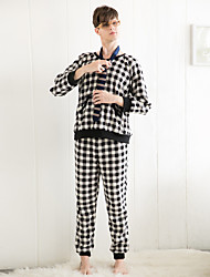 Winter couples pajamas men thicken flannel long sleeves classic checkered home service couple suit