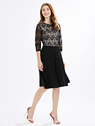Women's Plus Size Party Vintage Sheath DressEmbroidered Lace Round Neck Knee-length  Sleeve Polyester Blue Pink Black Summer