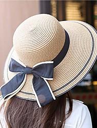 Для женщин На каждый день Соломенная шляпа,Весна Лето Полиэстер Соломка Однотонный Чистый цвет