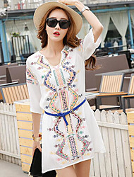 Women's Beach Loose Dress,Print Asymmetrical Above Knee ½ Length Sleeve Others Summer Low Rise Inelastic Thin