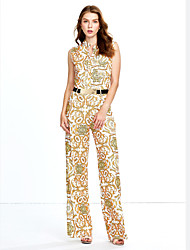 Women's Wide Leg Tapestry Print Belted Jumpsuit