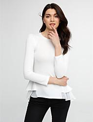 Damen Solide Einfach Ausgehen T-shirt,Rundhalsausschnitt Herbst / Winter Langarm Weiß / Schwarz Polyester Mittel