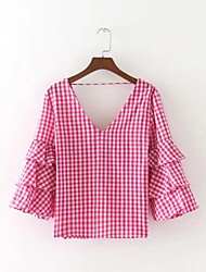 Damen Grid /-Plaid-Muster Sexy Einfach Street Schick Ausgehen Lässig/Alltäglich T-shirt,V-Ausschnitt Sommer Langarm Baumwolle Dünn Mittel