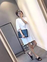 Damen Solide Einfach Strand T-shirt,Rundhalsausschnitt ¾-Arm Baumwolle