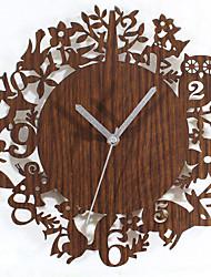 Rétro Bureau / Affaires Fleurs / Botaniques Horloge murale,Nouveauté Circulaire Bois Imitation Bois Intérieur Horloge