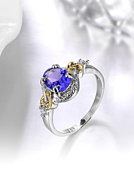 Ring Engagement Ring Sapphire Emerald AAA Cubic Zirconia Fashion Elegant Silver Gemstone  Round Jewelry For Wedding Party