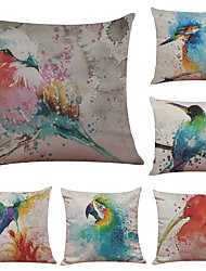 Set of 6 European-Style Hand-Painted Bird Pattern Linen Pillowcase Sofa Home Decor Cushion Cover  Throw Pillow Case (18*18inch)