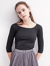 Tee-shirt Femme,Couleur Pleine Bureau/Carrière Décontracté simple Manches ¾ Col Arrondi Coton