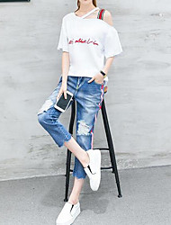 Women's Casual/Daily Simple Summer T-shirt Pant Suits,Letter Slash Neck Short Sleeve