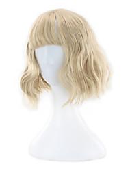 Popular Egg Rolls Small Waves Air Qi Liuhai Gold Short Hair Wigs 14inch