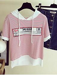 Damen Druck Einfach Lässig/Alltäglich T-shirt,Mit Kapuze Kurzarm Baumwolle