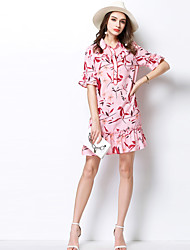 MEIDONGTAI Women's Daily Sheath DressSolid Round Neck Above Knee Short Sleeve Acrylic Summer Low Rise Inelastic Medium