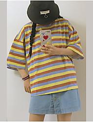 T-shirt Da donna Casual SempliceMonocolore Arcobaleno Rotonda Cotone Mezze maniche