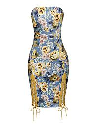Moulante Robe Femme Fête/Soirée Soirée Sexy Vintage,Fleur Sans Bretelles Au dessus du genou Sans Manches Polyester Spandex EtéTaille