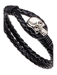 Men's Leather Bracelet Fashion Vintage Punk Hip-Hop Rock Costume Jewelry Leather Alloy Circle Round Geometric Skull / Skeleton Jewelry For