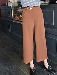 Women's Mid Rise Micro-elastic Loose Pants,Sexy Straight Solid