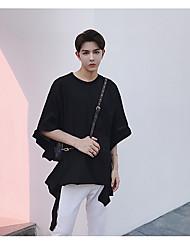 Herren Solide Einfach Normal T-shirt,Stehkragen Kurzarm 100% Baumwolle Mittel