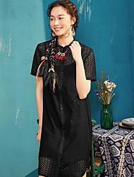 Dámské Denní Pouzdro Šaty Jednobarevné,Krátký rukáv Košilový límec Délka ke kolenům Spandex Léto Mid Rise Lehce elastické Tenké