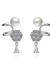 Women's Clip Earrings Imitation Pearl Unique Design Hypoallergenic Pearl Zircon Platinum Plated Irregular Jewelry 147Party/Evening
