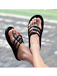 Men's Slippers & Flip-Flops Comfort Real Leather Tulle Summer Casual Comfort Brown Beige Black Flat