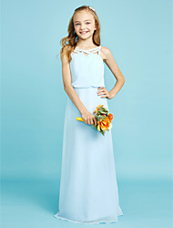 LAN TING BRIDE Floor-length Chiffon Junior Bridesmaid Dress Sheath / Column Straps Natural with Crystal Detailing