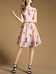 Feminino Bainha Rodado Vestido,Férias Casual Festa/Coquetel Sensual Vintage Moda de Rua Floral Colarinho Chinês Altura dos JoelhosSem
