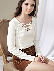 Damen Solide Einfach Normal T-shirt,V-Ausschnitt Langarm Baumwolle
