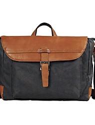 Men Shoulder Bag Canvas All Seasons Messenger Zipper Coffee Black