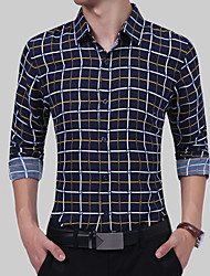 Для мужчин Повседневные На каждый день Все сезоны Рубашка Рубашечный воротник,Простое Шинуазери (китайский стиль)Контрастных цветов В