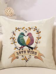 1 Pcs Love Wins Heart Birds Pillow Cover Creative Square Sofa Cushion Cover Home Decor Pillowcase