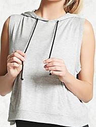 Damen Solide Einfach Ausgehen Lässig/Alltäglich T-shirt,Mit Kapuze Sommer Ärmellos Baumwolle Undurchsichtig
