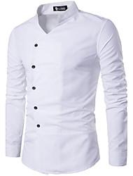 Masculino Camisa Social Casual Simples Primavera Verão,Sólido Algodão Poliéster Colarinho Clerical Manga Longa Opaca