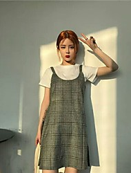 Feminino Túnicas Vestido Simples Quadriculada Decote Redondo Acima do Joelho Manga Curta Algodão Primavera Verão Cintura MédiaSem
