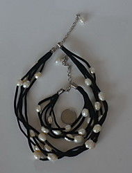 Women's Chain Bracelet Necklace Necklace/Bracelet Jewelry Unique Design Euramerican Fashion Genuine Leather Pearl Jewelry 147Wedding