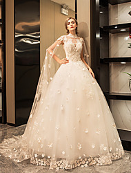 Princess High Neck Floor Length Tulle Wedding Dress with Crystal Appliques Lace